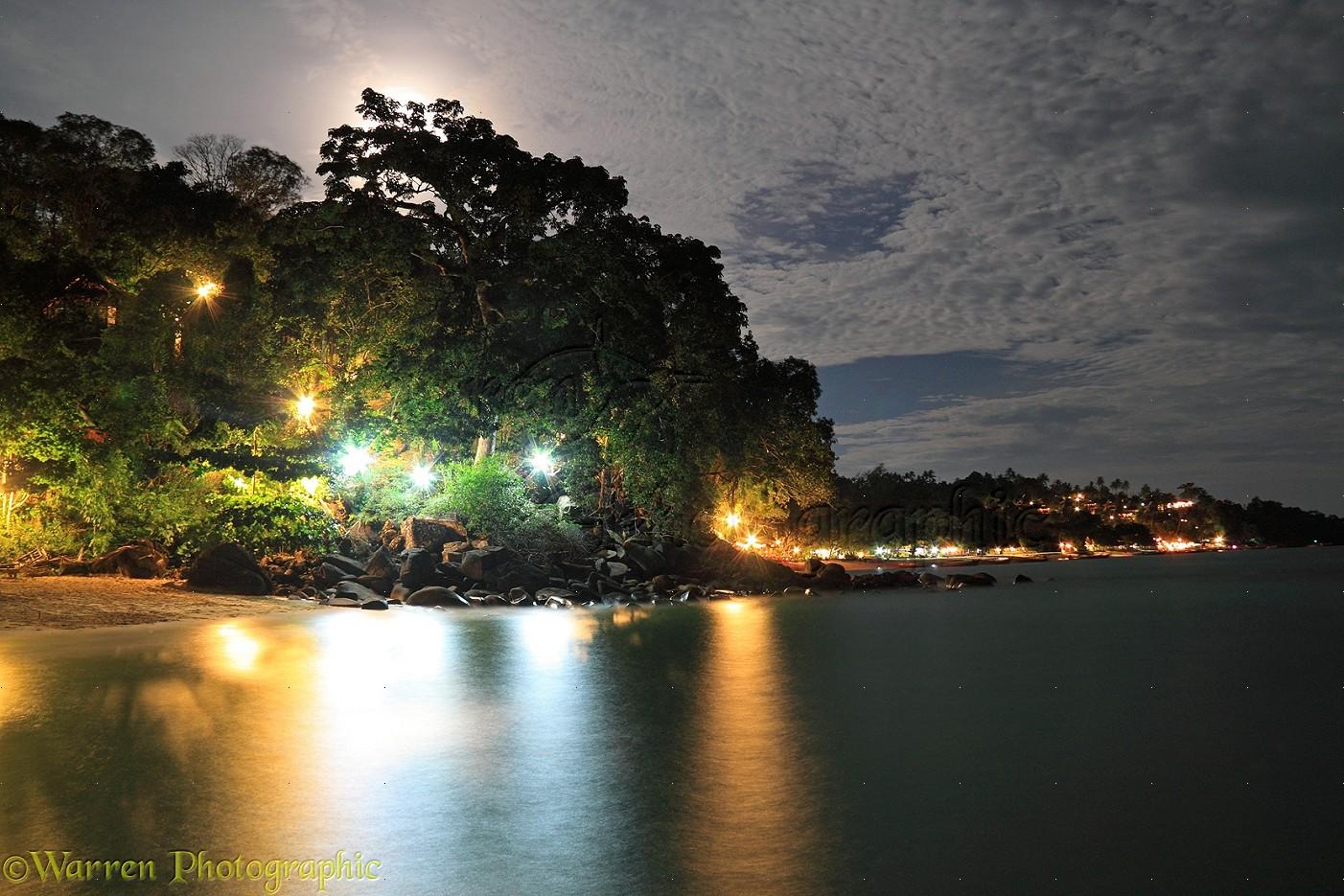 Beach resort at night photo - WP31750