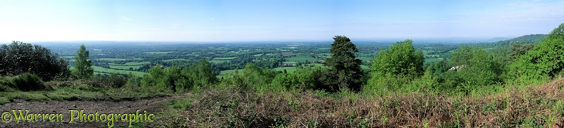 Panoramic view, south, from the North Downs at Holmbury Hill.  Surrey, England