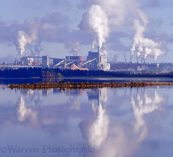 Factory belching steam and smoke.  Kemij�rvi, Finland