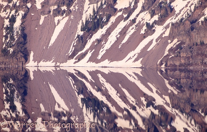 Pattern formed by reflections of snow patches.  Crater Lake, Oregon, USA