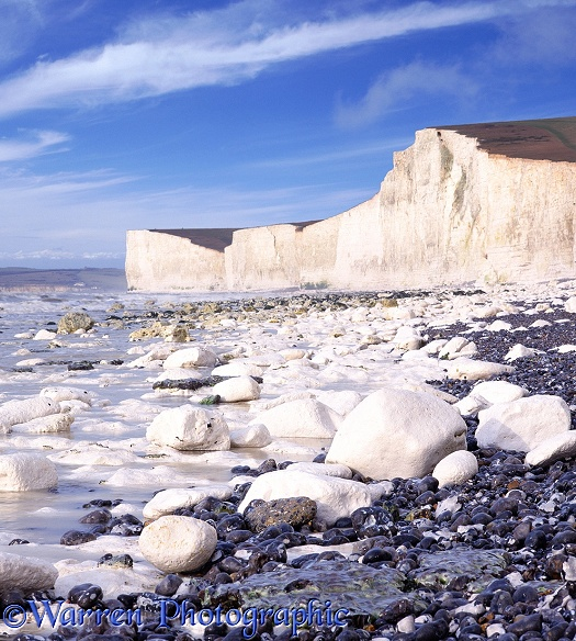 Chalk boulders and cliffs.  Sussex, England