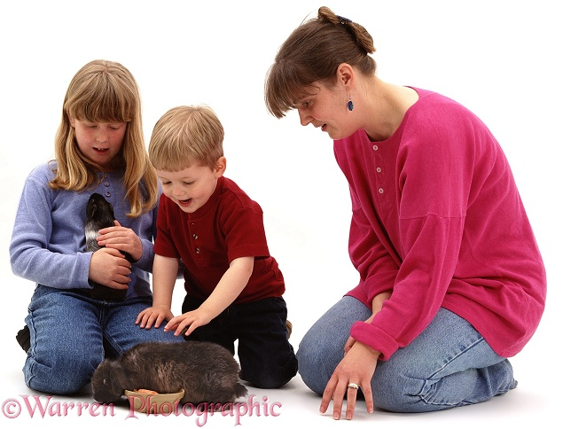 Sade, Joshua and Jane with their pet rabbit and Guinea pig, white background