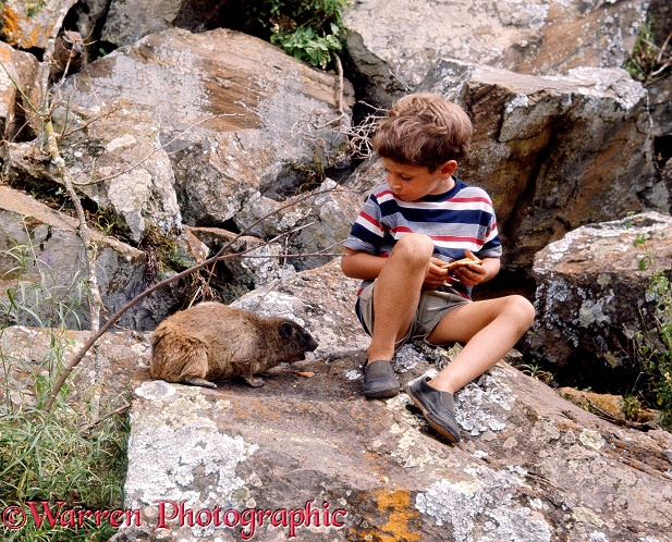 Mark sharing a biscuit with a rock hyrax.  Hell's Gate, Kenya