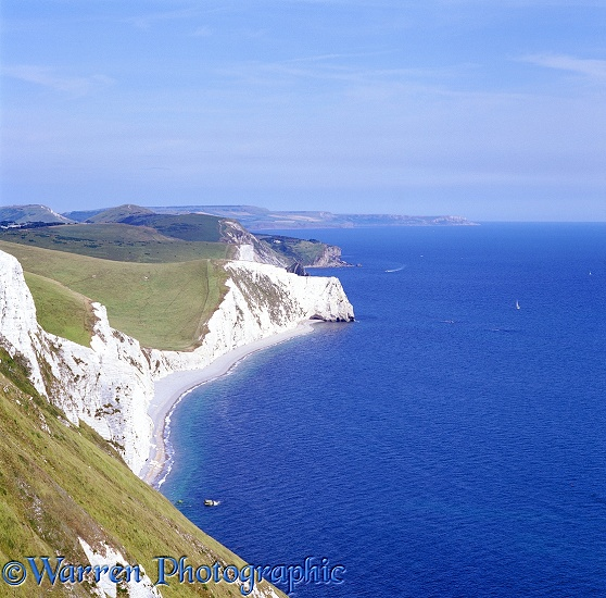 Dorset coastal view with chalk cliffs.  England