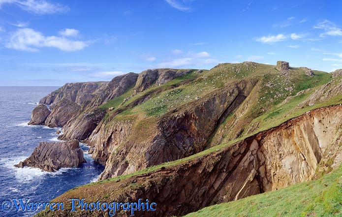 Granite cliffs on Lundy.  Lundy Island, England