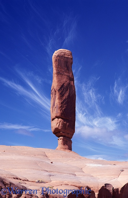 Balanced sandstone monolith.  Arches National Park, USA