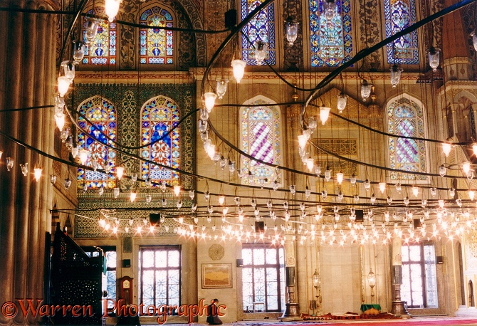 Inside the Blue Mosque in Istanbul.  Turkey