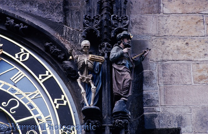 Detail of clock in Prague.  Czechoslovakia