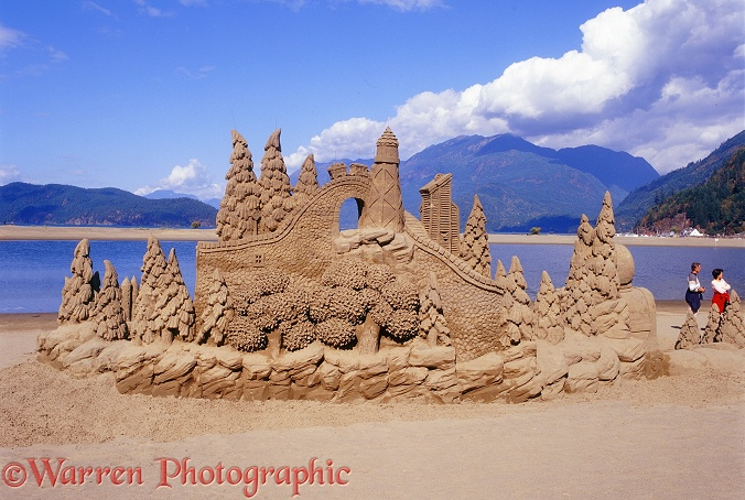 Harrison Hot Springs sand sculpture.  British Columbia, Canada