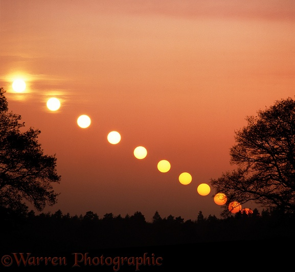 Setting sun at autumn equinox, 52 degrees latitude.  Time lapse shot at decreasing intervals, starting with 6 minutes.  Surrey, England