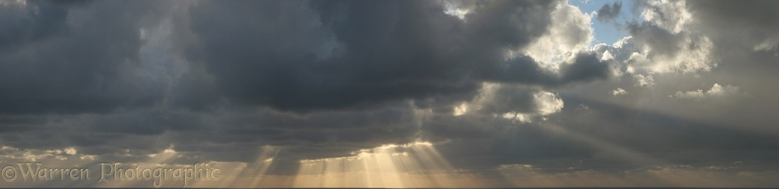 Clouds and sunbeams.  Lundy Island, England