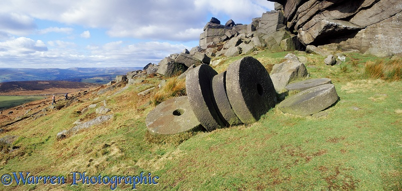Abandoned millstones.  Peak District, England