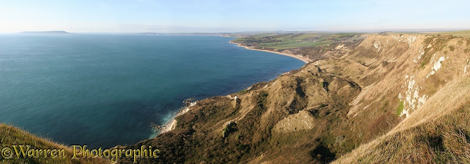 Weymouth Bay from Whitenothe panoramic view.  Dorset, England