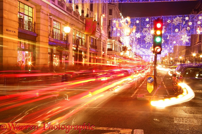 Regent Street at night.  London, England