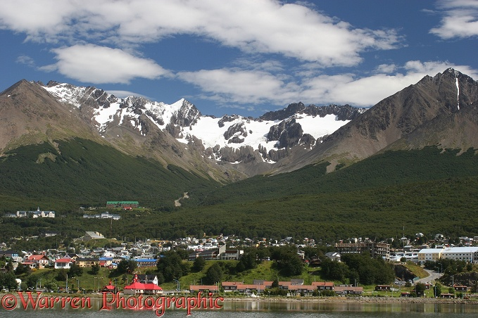 Ushuaia, at the foot of the Andes, showing glacial corrie and treeline.  Argentina