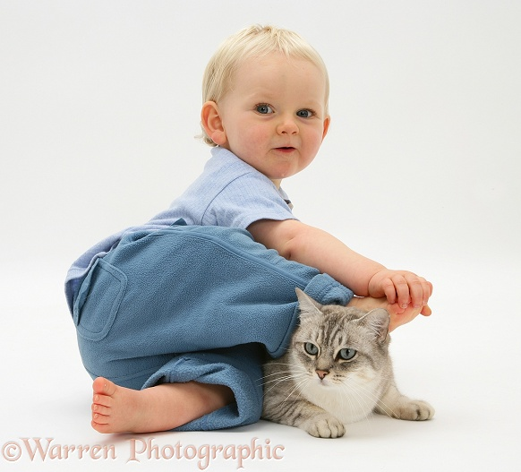 Toddler with Bengal cat, white background