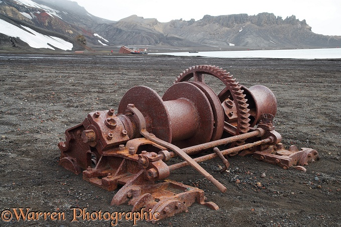 Rusting remains at an old whaling station.  Deception Island, Antarctica