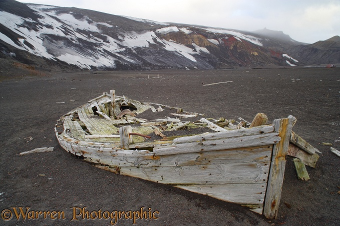 Remains of an old wooden boat.  Deception Island, Antarctica