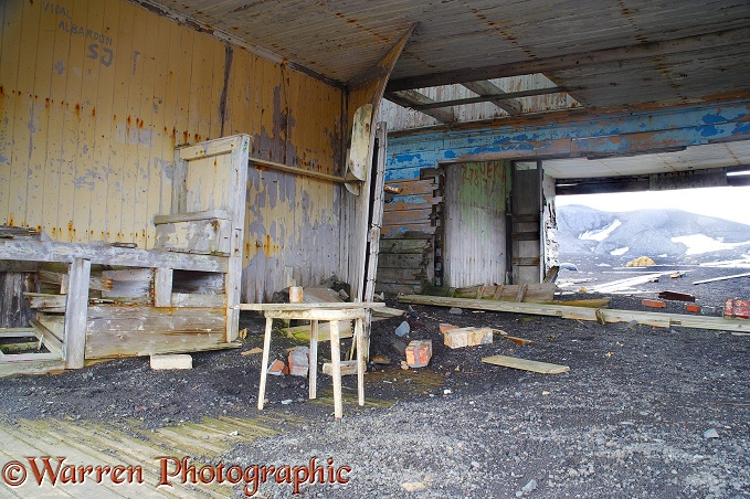 Inside the remains of an old whaling station.  Deception Island, Antarctica