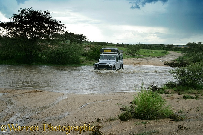 Crossing a swollen river during the rains, northern Namibia