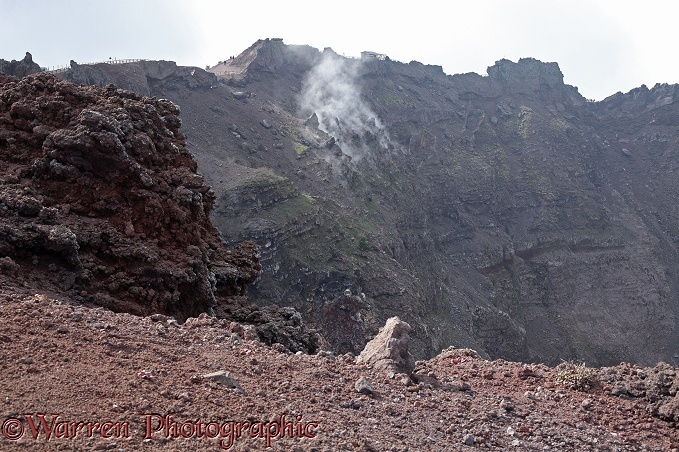 Vesuvius crater with steam vents.  Italy