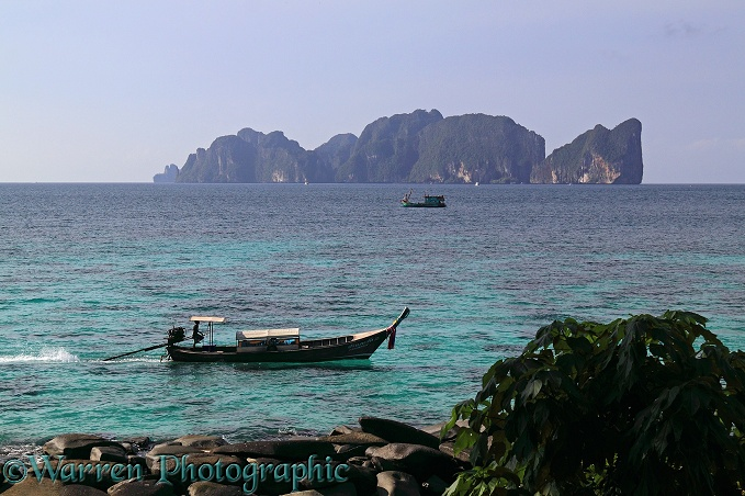 Long-tail boat and Koh Phi Phi Leh island.  Thailand