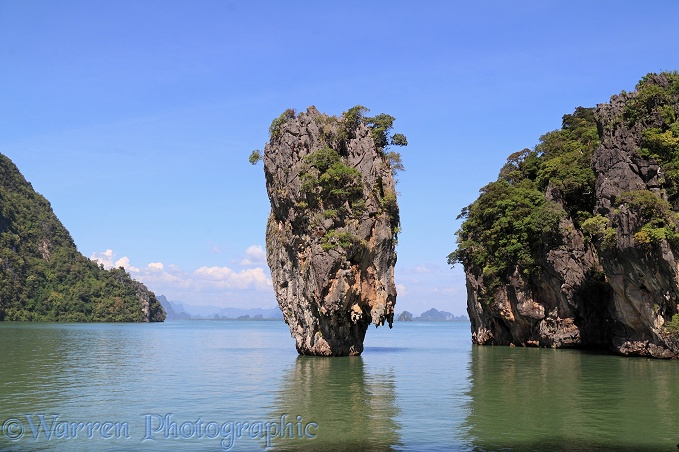 Limestone cliffs and pinnacle islands.  Phang Nga Bay, Thailand