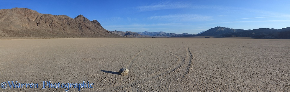Panoramic view of the Sliding Stones or Moving Rocks of Racetrack Playa.  Death Valley, California