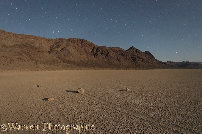 Sliding Stones or Moving Rocks of Racetrack Playa, taken at night by moonlight, with stars in the background.  Death Valley, California