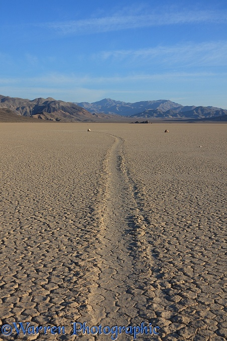 Sliding Stone or Moving Rock of Racetrack Playa.  Death Valley, California