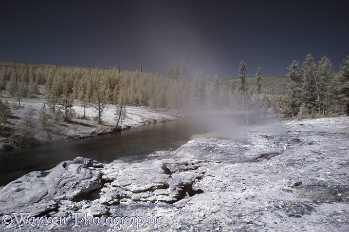 River and hot springs scene in near infrared.  Yellowstone, USA
