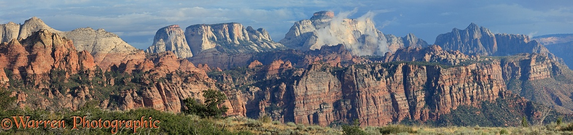 Panoramic of rocky sandstone mountains and cliffs.  Zion National Park, Utah