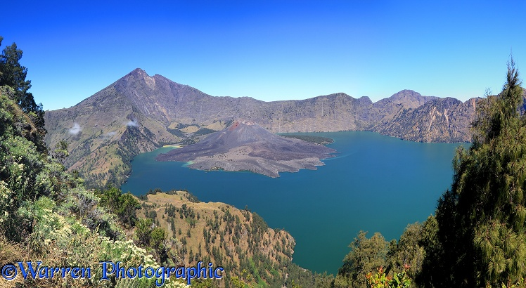 Panoramic view over the lake inside the crater of Rinjani.  Lombok, Indonesia