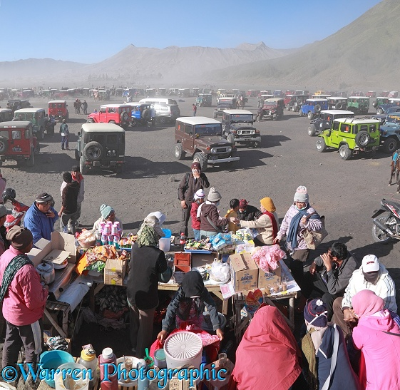 People and jeeps at Mt Bromo.  Indonesia