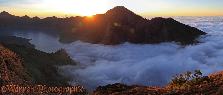 Rinjani crater rim at sunset.  Lombok, Indonesia