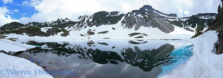 Lake and reflected mountains panorama.  Washington State, USA