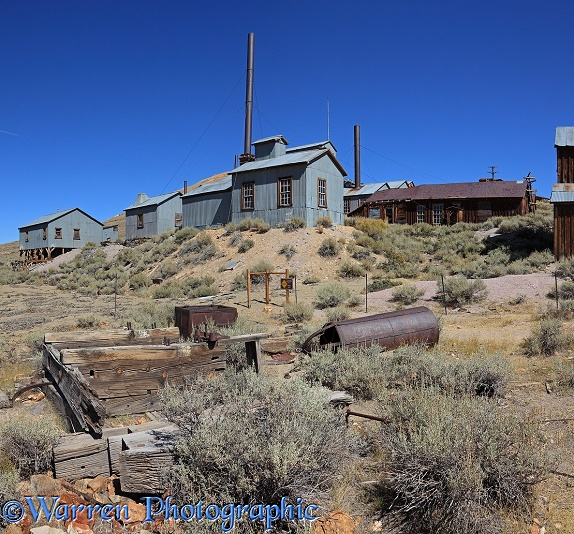 Rusty old factory in the ghost town of Bodie.  California, USA