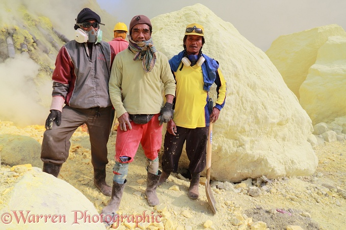 Men of the sulphur mine at Kawah Ijen.  Java, Indonesia