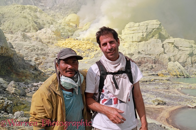 Mark and Kawah Ijen sulphur mine worker, Shookerman.  Java, Indonesia