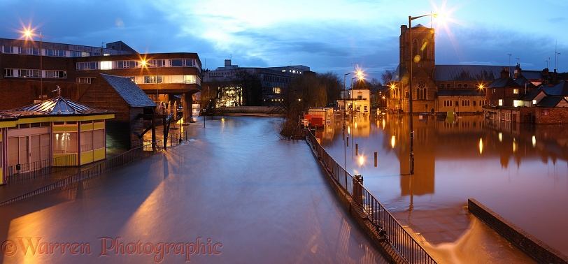 River Wey flooding the town of Guildford at night.  Surrey, England