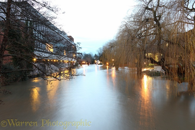 River Wey flooding Guildford.  Surrey, England