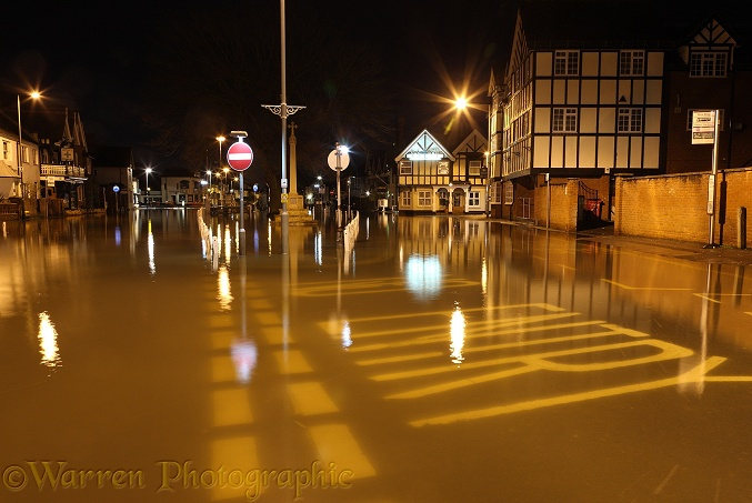 Flooded town of Datchet, at night. Inundated by water from the River Thames in February 2014.  Berkshire, England