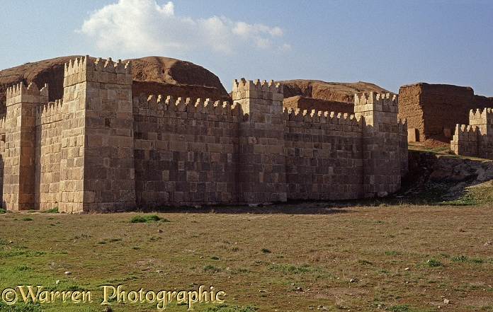 Ancient Assyria: a reconstructed section of the wall that once surrounded the capital, Nineveh, now engulfed by the modern city of Mosul, Iraq