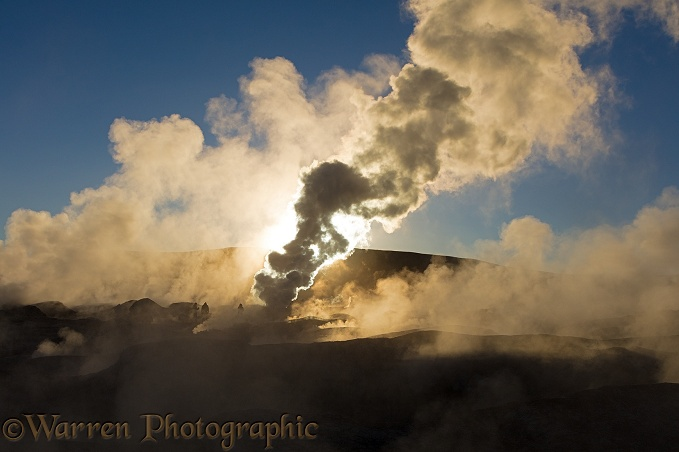 Steam rising from geysers, Sol de Ma�ana, Bolivia