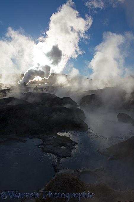 Steam rising from geysers and mud pots, Sol de Ma�ana, Bolivia