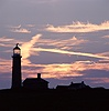 Lundy old lighthouse at sunset