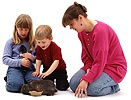 Family with rabbit & Guinea pig
