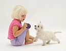 Girl with Westie pup