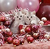 Silver tabby kittens with Christmas baubles