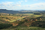 Agricultural scene with rice paddies. Central Madagascar
